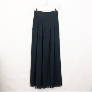 Cache Black Solid Chiffon Wide Leg Palazzo Small